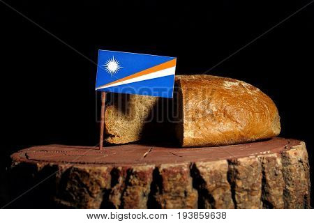 Marshall Islands Flag On A Stump With Bread Isolated