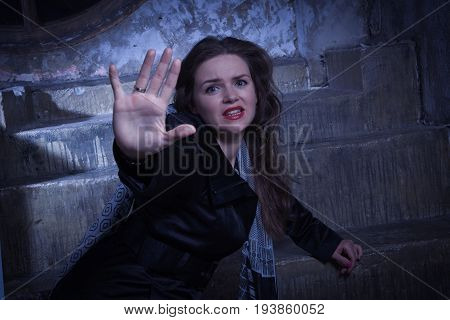 Frightened Woman Screaming