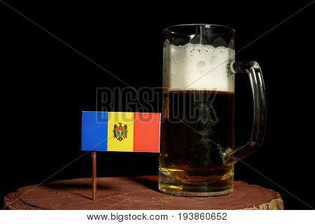 Moldovan Flag With Beer Mug Isolated On Black Background