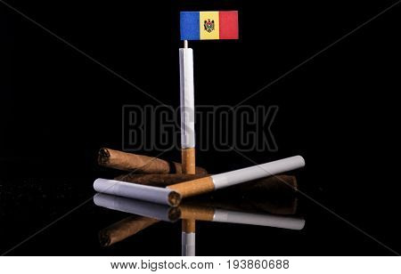 Moldovan Flag With Cigarettes And Cigars. Tobacco Industry Concept.