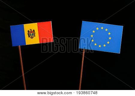 Moldovan Flag With European Union (eu) Flag Isolated On Black Background