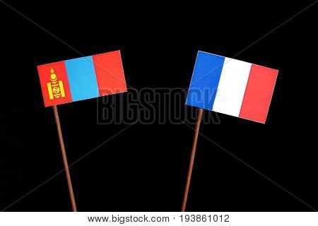 Mongolian Flag With French Flag Isolated On Black Background