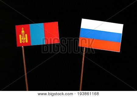 Mongolian Flag With Russian Flag Isolated On Black Background
