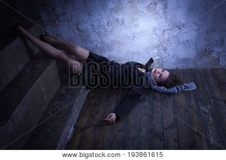 Crime Scene With Strangled Retro Styled Fashion Woman In A Darkplace