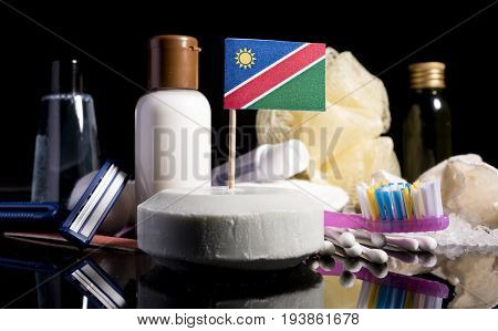 Namibian Flag In The Soap With All The Products For The People Hygiene