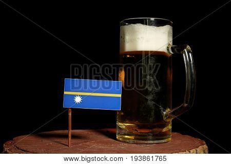 Nauru Flag With Beer Mug Isolated On Black Background
