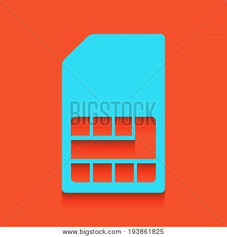 Sim card sign. Vector. Whitish icon on brick wall as background.