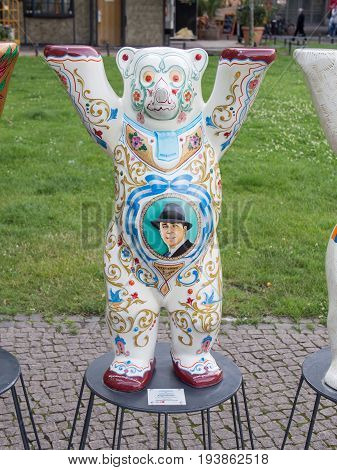 BERLIN GERMANY - JULY 3 2017: United Buddy Bears: Argentina Bear At Wittenbergplatz Square In Berlin
