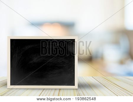 Blank Chalkboard, Blackboard On Table With Bokeh Blur Room Background With Copy Space, Blackboard On