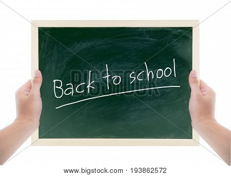 hands holding blackboard with text back to school on a white background blackboard for writing for advert clipping par