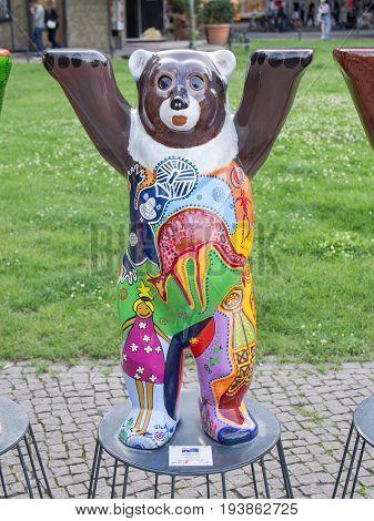 BERLIN GERMANY - JULY 3 2017: United Buddy Bears: Australia Bear At Wittenbergplatz Square In Berlin