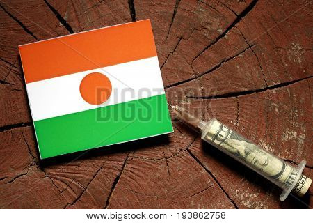 Niger Flag On A Stump With Syringe Injecting Money In Flag
