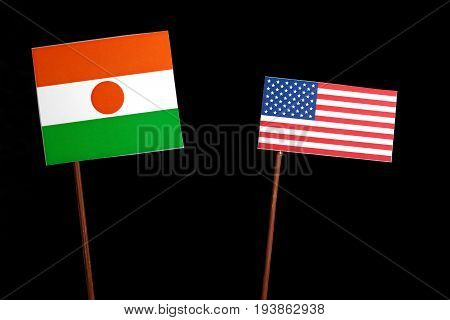 Niger Flag With Usa Flag Isolated On Black Background
