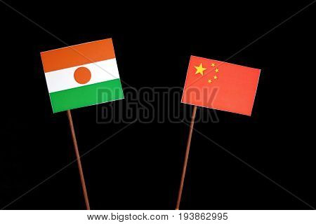 Niger Flag With Chinese Flag Isolated On Black Background