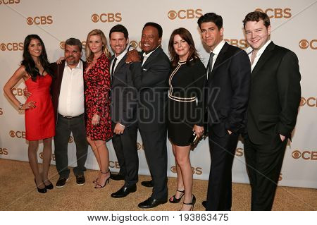 (L-R) The cast of 'Code Black' attends the 2015 CBS Upfront at The Tent at Lincoln Center on May 13, 2015 in New York City.
