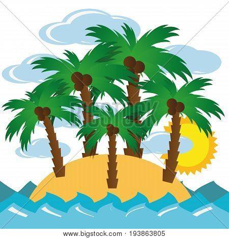 Illustration Lonely Island With Palm Trees