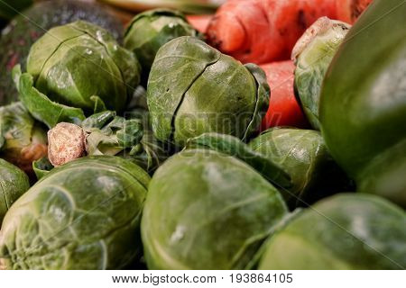 Bright Green and Fresh Raw Brussels Sprouts