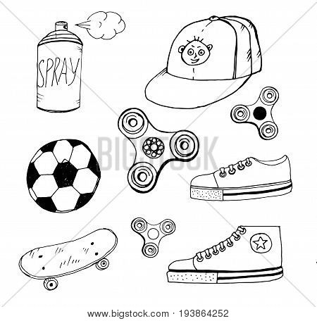 Doodle spinner cap aerosol paint ball sneakers skateboard drawn with pen