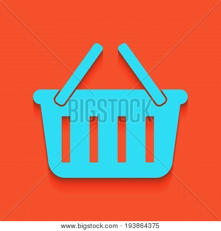 Shopping basket sign. Vector. Whitish icon on brick wall as background.