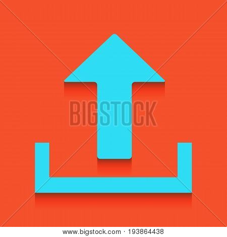 Upload sign illustration. Vector. Whitish icon on brick wall as background.
