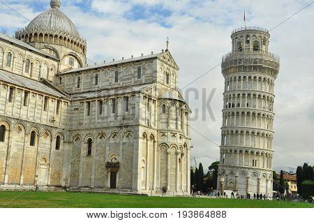 Pisa Italy,November 3rd 2010.Pisa Italy's famous tourist attraction The Leaning Tower along with the fabulous Duomo. Climb the tower but  make sure you go into the church its amazing inside.