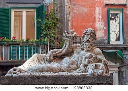 The marble statue of the Nile God in front of the church of Santa Maria Assunta dei Pignatelli - Naples Campania Italy