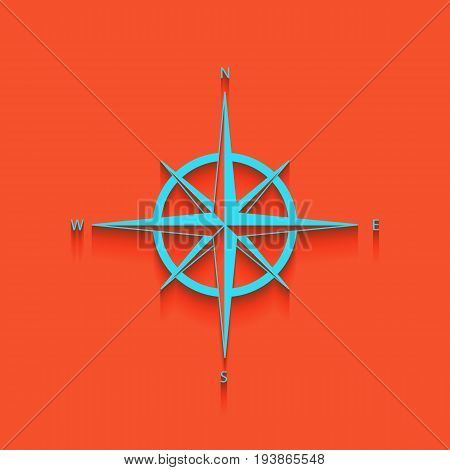 Wind rose sign. Vector. Whitish icon on brick wall as background.