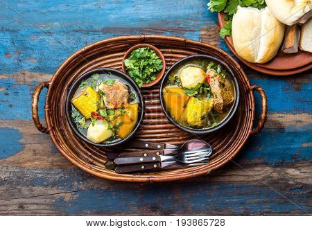 Latin American Food. Traditional Chilean Pork Soup Cazuela. Cazuela Chilena