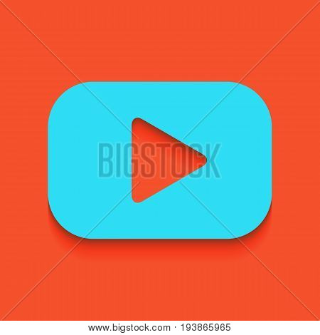 Play button sign. Vector. Whitish icon on brick wall as background.