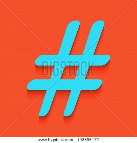 Hashtag sign illustration. Vector. Whitish icon on brick wall as background.