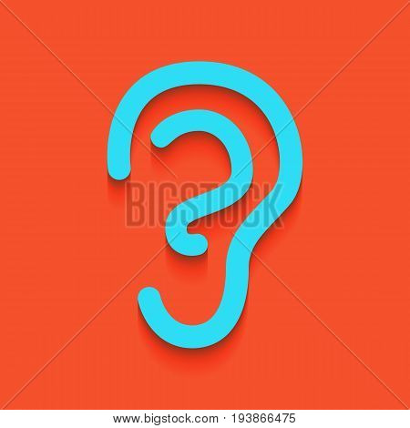 Human anatomy. Ear sign. Vector. Whitish icon on brick wall as background.