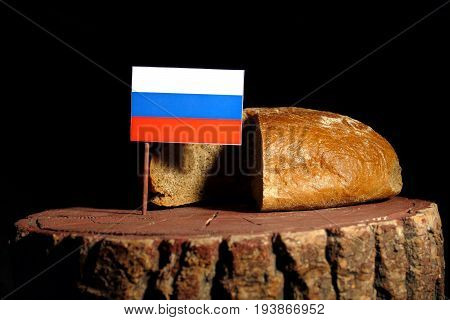 Russian Flag On A Stump With Bread Isolated