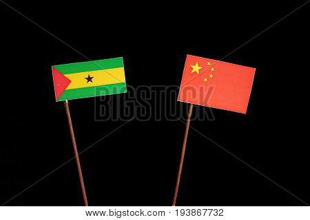 Sao Tome And Principe Flag With Chinese Flag Isolated On Black Background