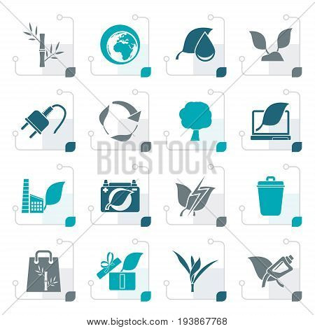 Stylized Environment and Conservation icons - vector icon set