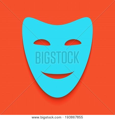 Comedy theatrical masks. Vector. Whitish icon on brick wall as background.