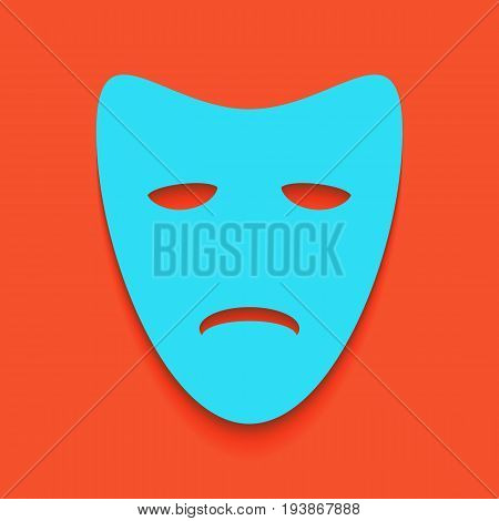 Tragedy theatrical masks. Vector. Whitish icon on brick wall as background.