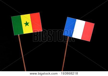 Senegal Flag With French Flag Isolated On Black Background