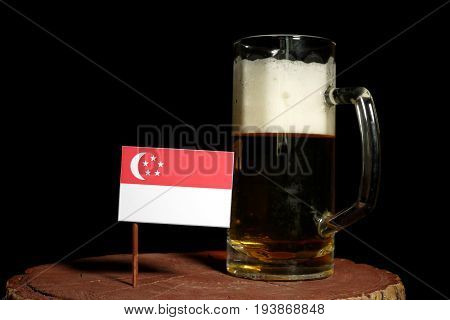 Singaporean Flag With Beer Mug Isolated On Black Background
