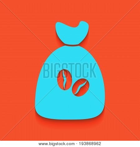 Coffee bag Icon. Coffee bag. Vector. Coffee bag Icon Button. Vector. Whitish icon on brick wall as background.