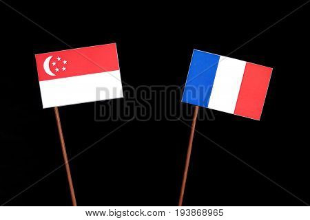 Singaporean Flag With French Flag Isolated On Black Background