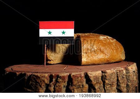 Syrian Flag On A Stump With Bread Isolated