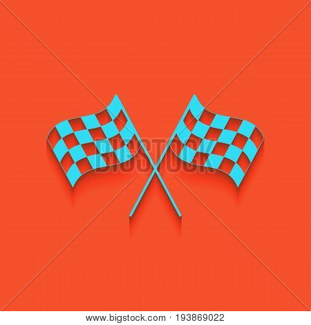 Crossed checkered flags logo waving in the wind conceptual of motor sport. Vector. Whitish icon on brick wall as background.