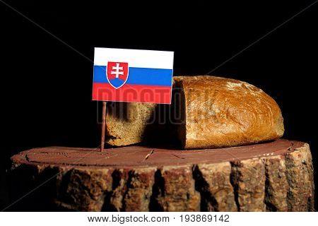 Slovakian Flag On A Stump With Bread Isolated