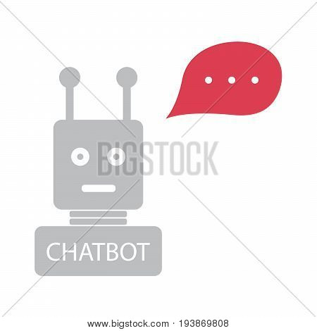 chatbot with red speech bubble on white background