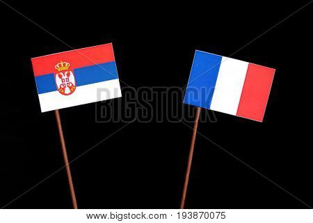 Serbian Flag With French Flag Isolated On Black Background