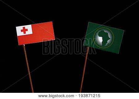 Tongan Flag With African Union Flag Isolated On Black Background