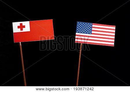 Tongan Flag With Usa Flag Isolated On Black Background