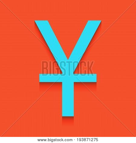 Chinese Yuan sign. Vector. Whitish icon on brick wall as background.