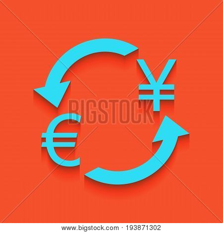 Currency exchange sign. Euro and Japan Yen. Vector. Whitish icon on brick wall as background.