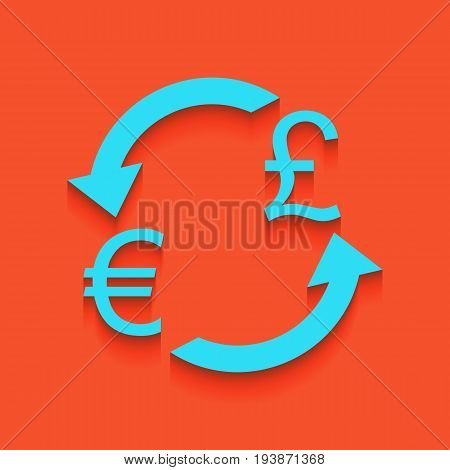 Currency exchange sign. Euro and UK Pound. Vector. Whitish icon on brick wall as background.